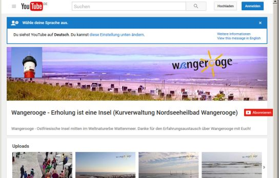 Wangerooge in YouTube