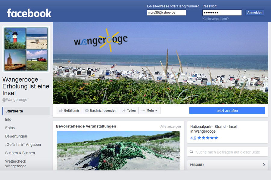 Wangerooge in Facebook